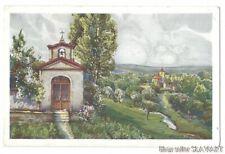 POSTCARD 1932 Czech Painting Oskar Schmidt rural landscape church shrine Easter