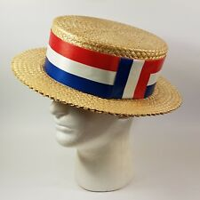 Vintage Straw Boater Hat by Natley Size 7 1/4 Nathan Halpern Hat Company