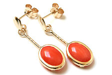 9ct Gold Coral Oval short Drop earrings Gift Boxed Made in UK