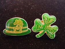 2 Vintage Enamel St. Patrick Irish Clover Shamrock Holiday Lapel Brooch Pin