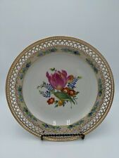 Vintage KPM Hand Painted Tulip Flowers Reticulated Porcelain Plate Germany