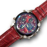 Orologio Polso YK D27 Uomo Analogico Digitale Cronografo Data Sveglia Rosso lac