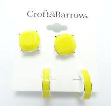 New Summer Yellow Earring Set Studs & Hoops nwt #E1240