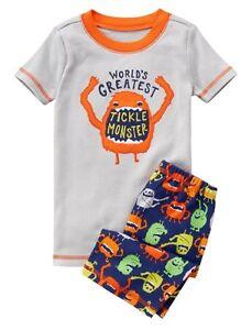 NWT Gymboree Boy Grey Tickle Monster Shortie 2-PC Sleepwear Gymmies  3 4  8