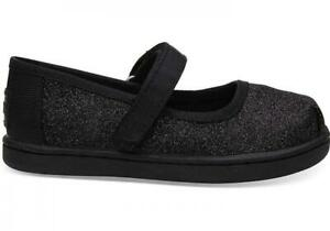 Toms Kids Girl's Youth Mary Jane Black Iridescent Glimmer Size 6
