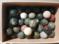 Marbles Agate Or Jasper 2 Pieces 1 1/8  to 1 1/4 Inch Natural Gemstone Vintage
