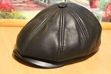 New newsboy 8 panel Hat Cap leather Russian black bakerboy look ear flat driving