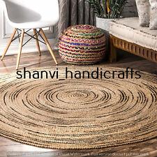 Braided Natural multi Color 4 Feet Jute Rug Area Rugs Carpet Mats Handmade Round