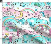 Unicorn Nursery Whimsical Cotton Candy Fabric Printed by Spoonflower BTY