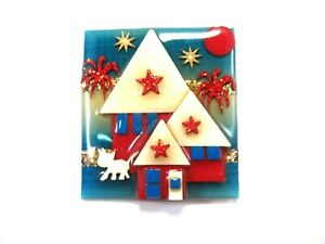 House Pins by Lucinda ~Fireworks 4th of July Red White Blue Glitter Stars CAT