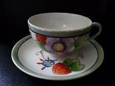 Vintage delicate Lustware flower and strawberry  cup and saucer -Made in Japan