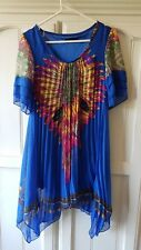 Ladies blue pink purple yellow green feather tassels patterned dress size 10