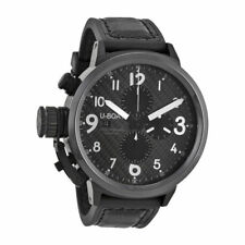 U-Boat 7118 Flightdeck Swiss AutomatiCarbon Fiber Dial Black Leather Men's Watch