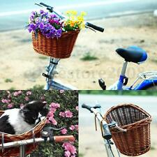 Handmade Willow Wicker Bicycle Bike Front Basket Dogs Pets Shopping w/ Straps