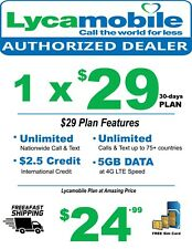 Lycamobile Limited offer TRIPLE CUT SIM CARD WITH 29$ monthly Plan included