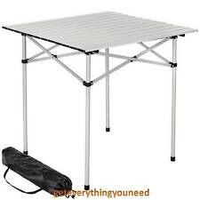tectake Aluminium Folding Portable Camping Table Roll Top 70x70x70cm With Bag