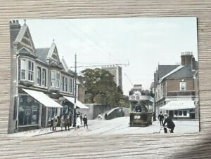 Stow Hill, Newport, Monmouthshire - old postcard - street scene with tram.