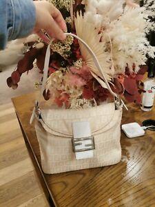 AUTHENTIC FENDI Zucca Canvas Mamma Baguette Shoulder Bag Beige