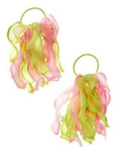 GYMBOREE BUTTERFLY BLOSSOMS PINK & GREEN ORGANZA PONYTAIL HOLDER 2-ct NWT