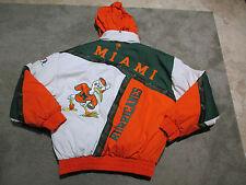 VINTAGE Miami Hurricanes Hooded Jacket Adult Large Coat Green Pro Player UM Mens