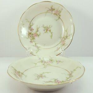 """Theo Haviland NY Rosalinde Berry Bowls 5"""" Set of 2 Ivory Porcelain Pink"""