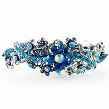 Vintage BARRETTE Rhinestone Crystal Hair Clip Hairpin Victorian Flower Blue 5-18