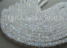 """8"""" strand AAA RAINBOW MOONSTONE micro faceted gem stone rondelle beads 4mm - 6mm"""