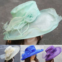 New Women Dress Church Wedding Kentucky Derby Party Wide Brim Hat Organza A409
