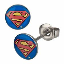 Official DC Superman Logo 316L 8mm Stainless Steel Stud Earrings