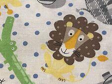 Fabric Zoo Animals Dots Plaid on White w/Blue Dots Cotton 1 Yard S