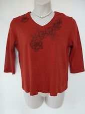 Dash cotton blend russet red with textured floral embroidery top size 18
