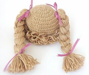 Light Brown Cabbage Patch Kid Hat Inspired Crochet Wig Braid Pigtail Halloween