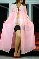 VTG Pink Sheer Nylon Fancy Lace Long Classy Peignor Robe Nightgown Slip sz L