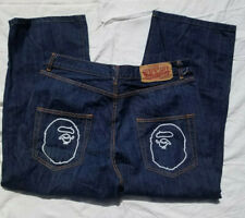 BAPE Bathing Ape Blue Jeans Size XL W36 x L27 See Description BO63 Baggy Camo