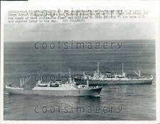 1963 Soviet Fishing Trawlers Off Coast of Nova Scotia Press Photo