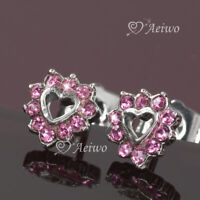 18k white gold gf made with Swarovski crystal pink love heart stud earrings