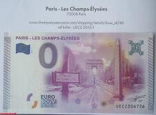 Billet touristique zero euro, PARIS LES CHAMPS-ELYSEES, 2015-1, n°4509, Neuf