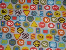 """1 yard Street Signs on Gray 100% Cotton Fabric- 44"""" wide- Stop, Yield, Go, Speed"""