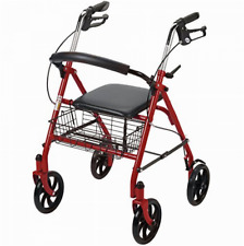 Medical Supplies Walkers for Elderly Seniors w/ Seat Rolling Drive Folding Red
