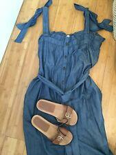 WHISTLES £129 Ladies Blue Cotton Tie Chambray Sleeveless Jumpsuit M BNWT UK 14