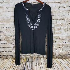 Mossimo Boho Gypsy Top Boho Embroidered Floral Blouse Relaxed Shirt Size M NWT