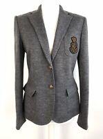 Ralph Lauren 100% Wool Blazer Size 8 Grey Jacket Logo Branded Emblem Preppy