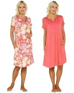 Carole Hochman Plus 2X Wood Block Floral Rayon Spandex Sleep Shirt Set Coral