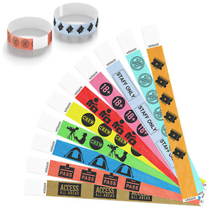 Festival Security Tyvek Paper Wristbands for Events Concerts Crew Staff Camping
