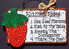 White Sign STRAWBERRY KITCHEN RULES Wall Decor Strawberries Country Wood Plaque