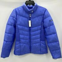 Via Spiga Womens Smocked Quilted Puffer Jacket Sapphire Blue Packable Sz Medium