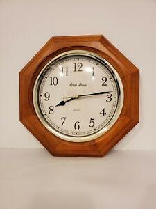 Daniel Dakota Oak Wood Clock Octagon Frame Round Face Silver Trim Quartz  Works