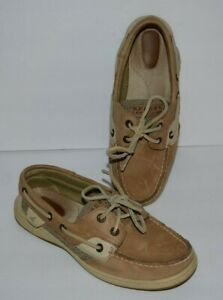 SPERRY TOP SIDER BLUEFISH TAN LEATHER SLIP ON BOAT LOAFERS WOMEN SZ 6.5 M  *GUC*