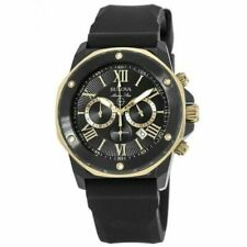 New Bulova Marine Star Black Dial Black Rubber Strap Men's Watch 98B278