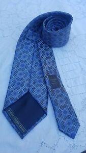Ermenegildo Zegna Tie Geometric Pattern Hand made Blue Italy 100% Silk Excellent